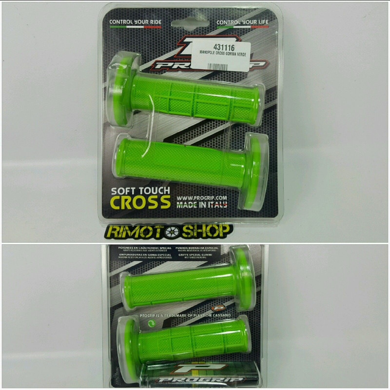 coppia manopole PROGRIP verde knobs motocross