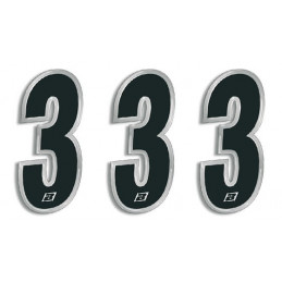 N 3 kit 3 pz numeri ADESIVI gara Blackd 15X7 cm Chrome Numbers Blackbird