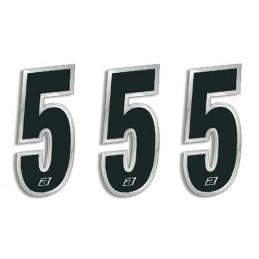 N 5 kit 3 pz numeri ADESIVI gara Blackd 15X7 cm Chrome Numbers Blackbird