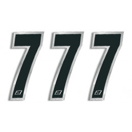 N 7 kit 3 pz numeri ADESIVI gara Blackd 15X7 cm Chrome Numbers Blackbird