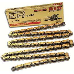 Motorcycle DID chain step 520MX gold and black color with clip