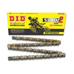 Motorcycle DID chain step 520DZ2 gold and black color with clip