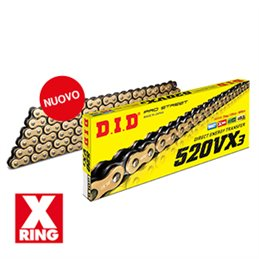 Motorcycle DID chain step 520VX3 gold and black color with clip
