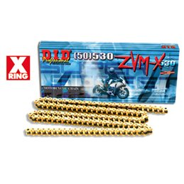 Motorcycle DID chain step 530ZVM-X colour gold with rivet joint