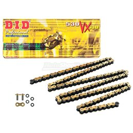 Motorcycle DID chain step 530VX gold and black color with rivet