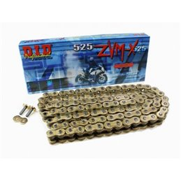 Motorcycle DID chain step 525ZVM-X colour gold with rivet joint