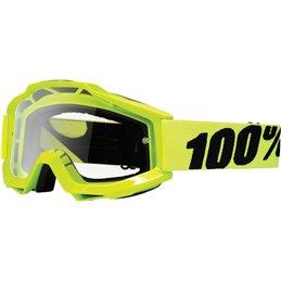 Maschera 100% accuri modello Offroad giallo fluo- lente chiara-26011453-100% ricambi per moto