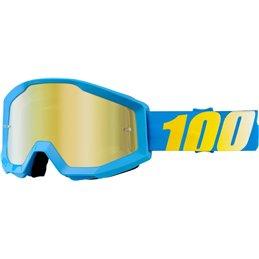 Maschera motocross modello Strata 100% SOLID CYAN OFFROAD Lente a specchio oro-26011991-100%