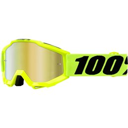 ACCURI JR FLUO YELLOW OFFROAD GOGGLE W/ MIRROR RED LENS