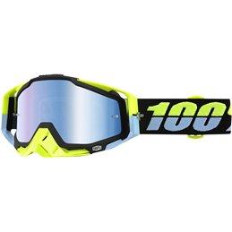 Maschera 100% modello Racecraft ANTIGUA OFFROAD lente a specchio blu-26012052-100% ricambi per moto