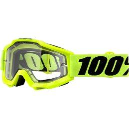 Maschera 100% accuri modello FLUO YELLOW ENDURO lente chiara-26012435-100% ricambi per moto