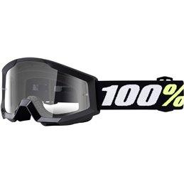 Maschera motocross modello Strata 100% MINI GROM BLACK OFFROAD lente chiara-26012467-100% ricambi