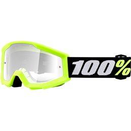 Maschera motocross modello Strata 100% MINI GROM YELLOW OFFROAD lente chiara-26012469-100% ricambi