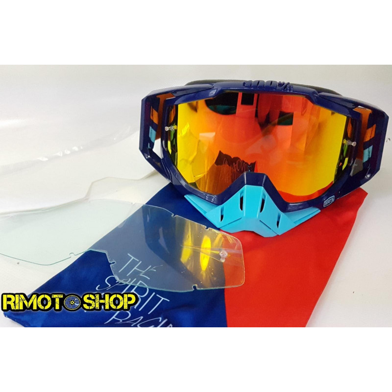 Goggle MX 100% model Racecraft CALCULUS NAVY OFFROAD red mirror lens