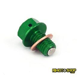 Tappo scarico olio magnetico Kawasaki KX 85 2001-2018 verde-RMT-KAW01-RiMotoShop