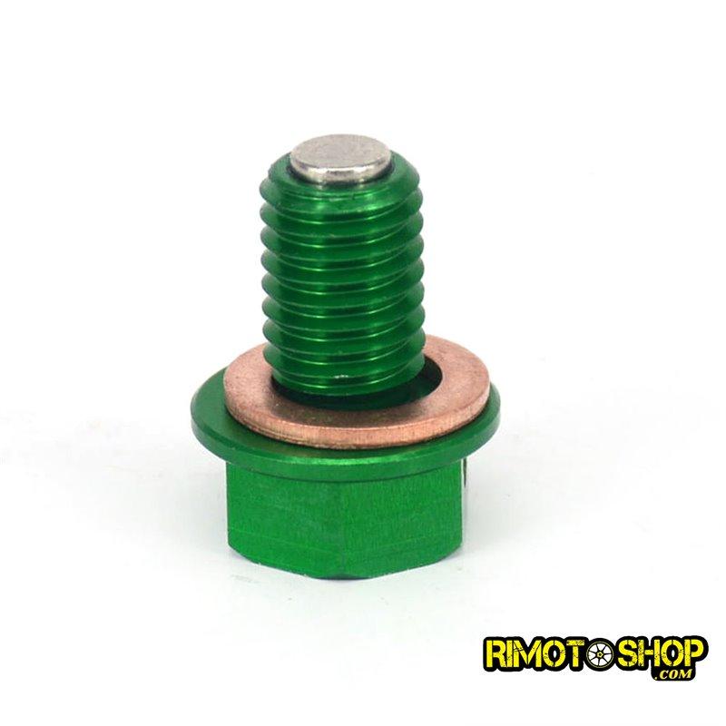 Tappo scarico olio magnetico Kawasaki KX 500 92-2004 verde-RMT-KAW01-RiMotoShop