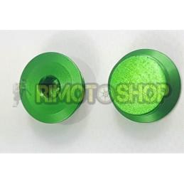 X2 Tappi carter frizione CNC verdi Aprilia RS MX SX RX 125 ROTAX122